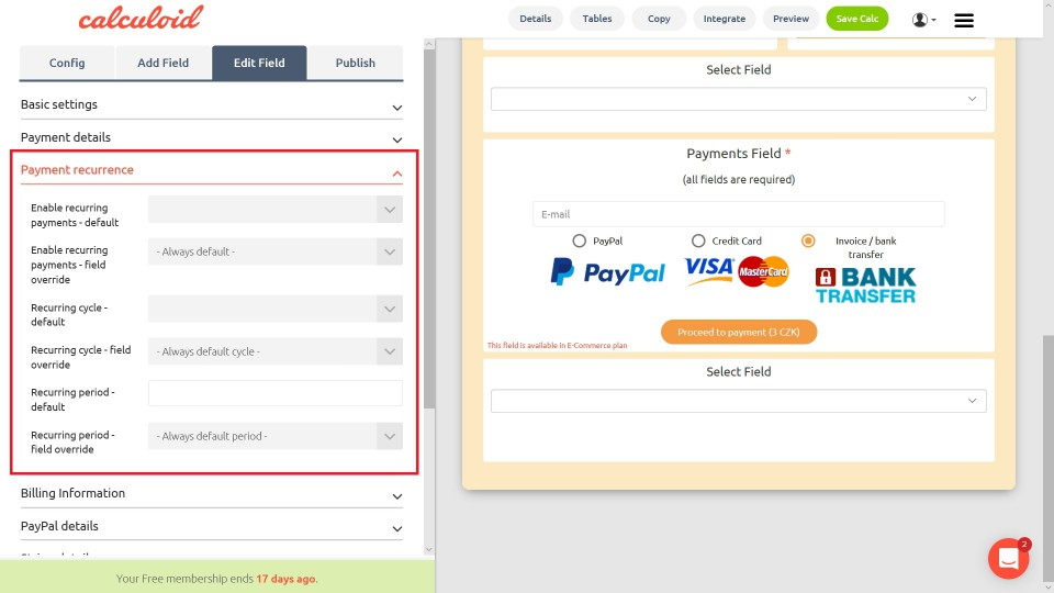 Recurrent payments via PayPal or credit card now integrated