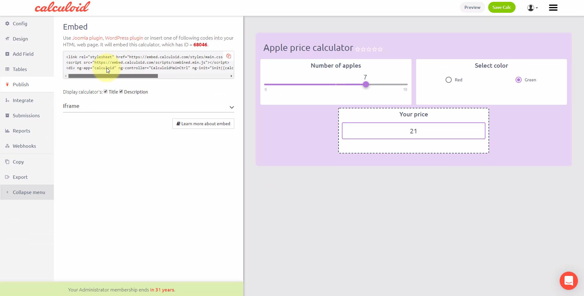 Online-Shop-Rechner-Vorlage - Calculoid.com