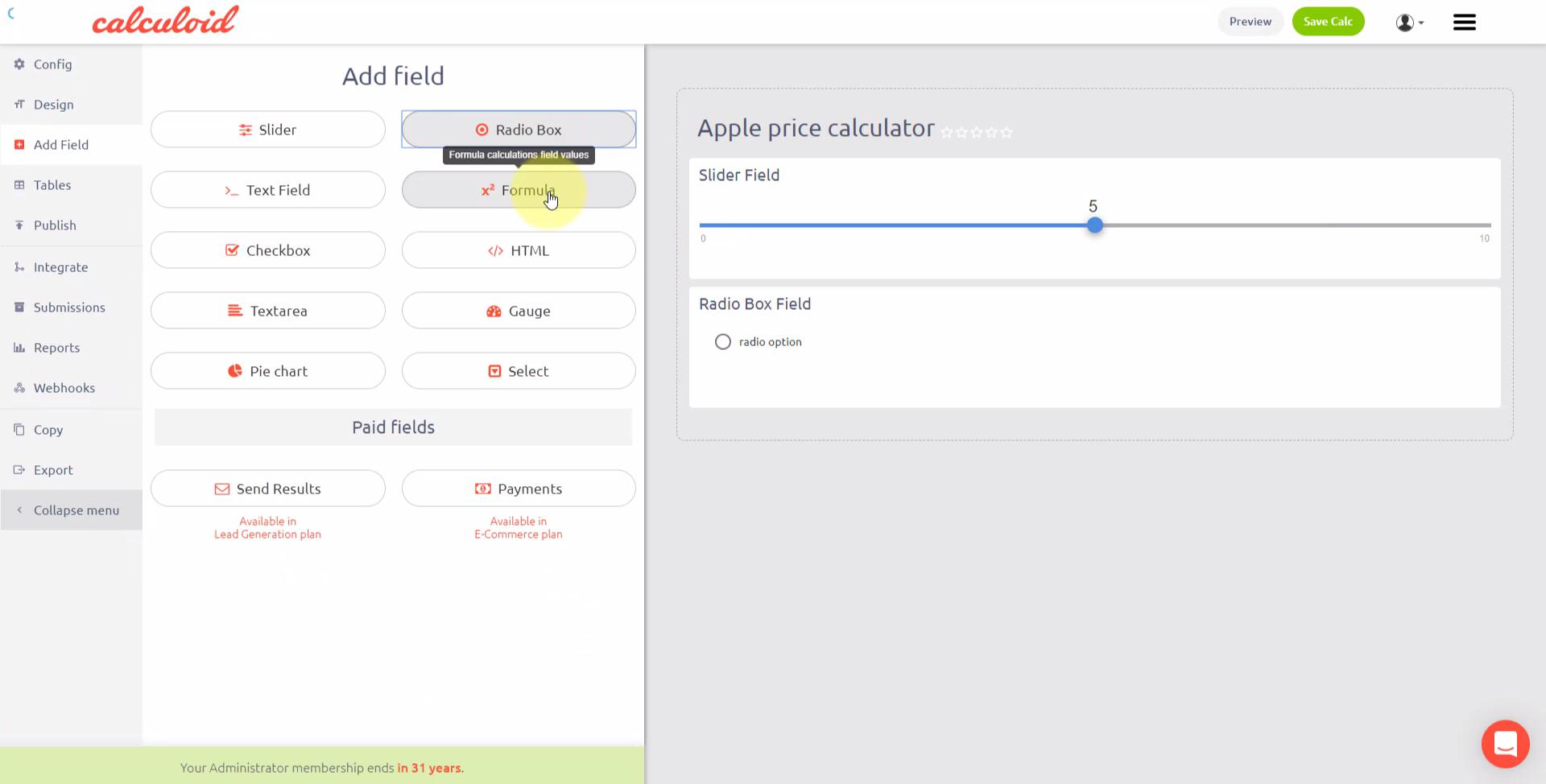 Online obchod kalkulačka šablona - Calculoid.com