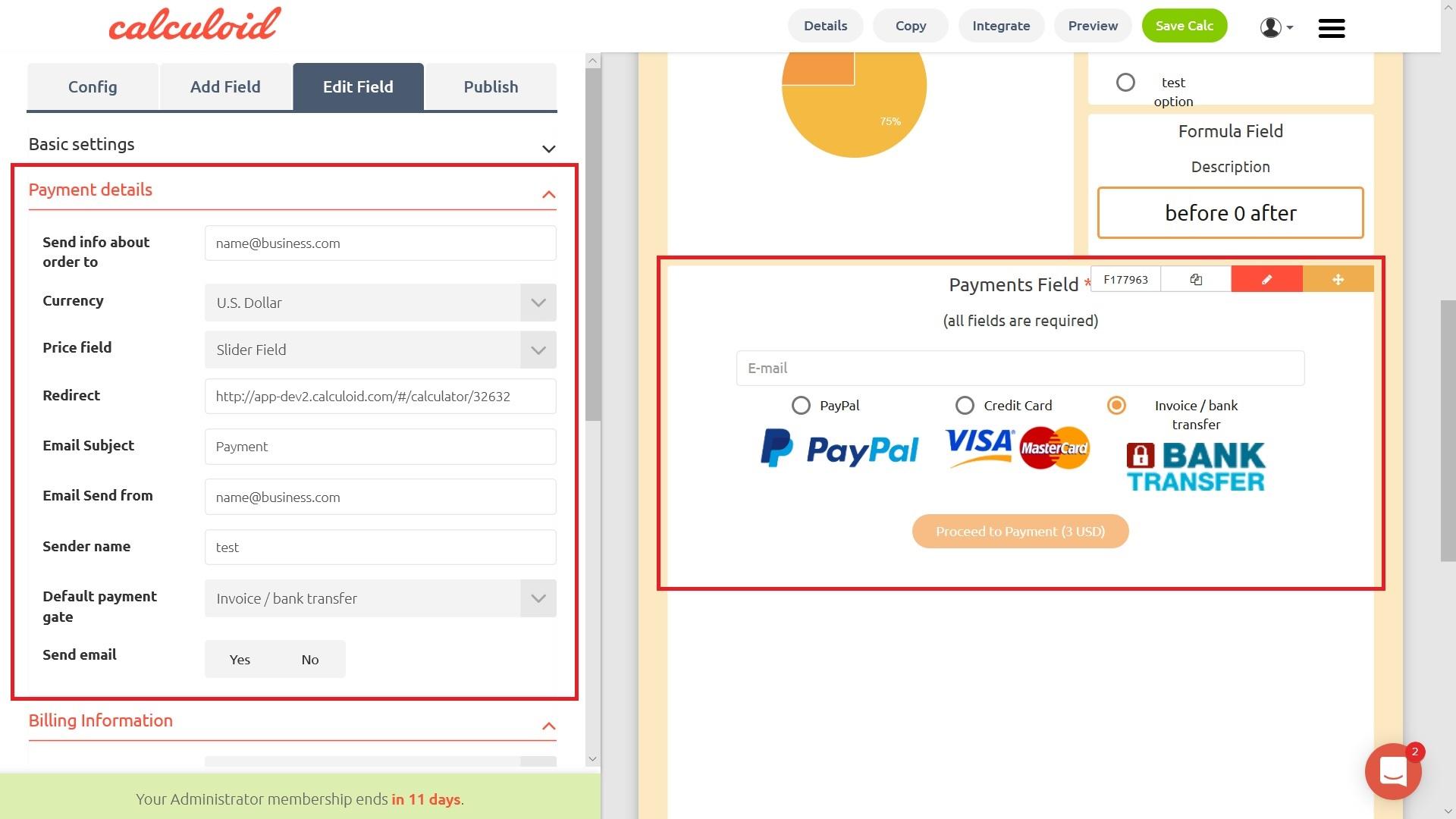 Campo pagamenti - Calculoid.com