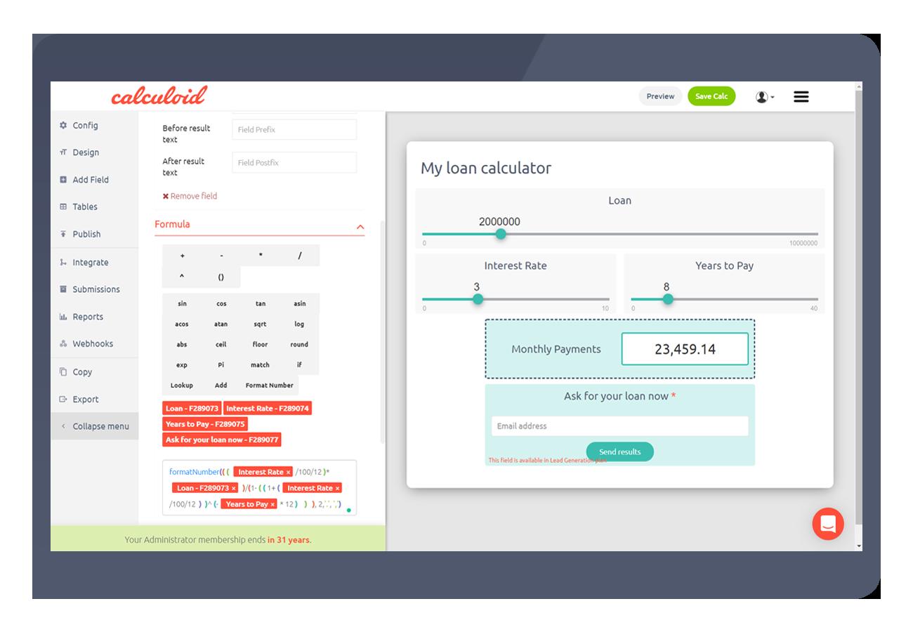 Interaktivní kalkulačka pro vaše webové stránky - Calculoid.com