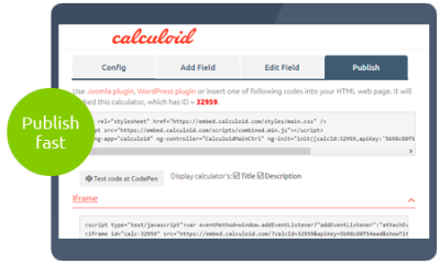 Calculoid Functions Publishing preview