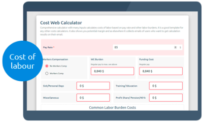Calculoid Cost Web Calculator-Vorschau