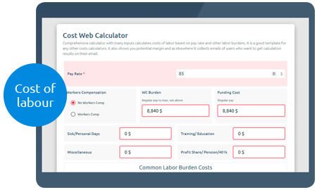 Calculoid Cost Web Calculatorプレビュー